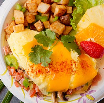 Image of made to order omelette at CJs Comfort Zone Kaanapali restaurant.