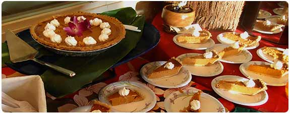 homemade pumpkin pie for our Heat and Eat Thanksgiving Dinner on Maui.