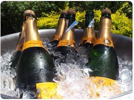 Champagne chilling for executive catering event on Maui at the Olowalu plantation house private estate.