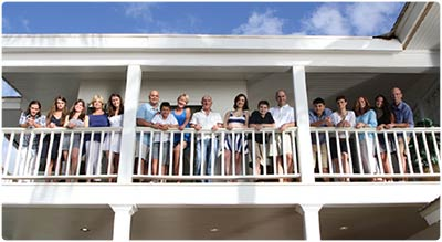 A family poses for a family reunion photograph in Lahaina during their Maui family reunion..