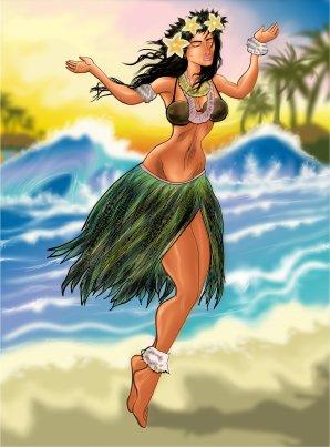 Hawaiian Hulu Girl Illustration
