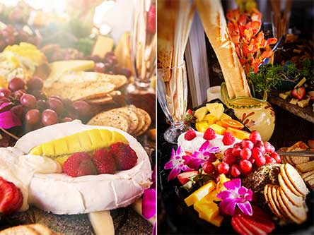 An International Cheese Display by Maui Chef CJ and his Maui catering team for a wedding in Lahaina.