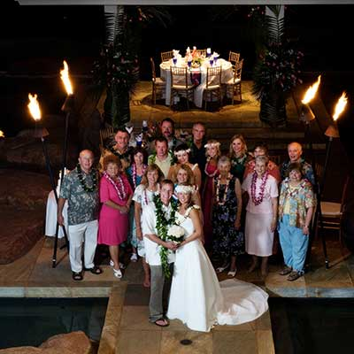 Getting married in Hawaii on Maui with wedding reception at private Maui estate wedding rental.