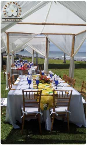 Bamboo Chuppah for Catered Event at the Olowalu Plantation House in West Maui. Plan an Olowalu Plantion House wedding.
