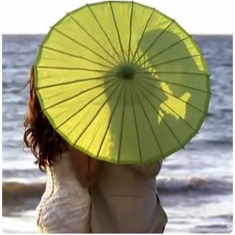 Green umbrella wedding accessory for Olowalu plantion house wedding in West Maui.