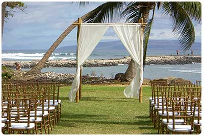 Maui beach wedding location at the Olowalu Plantation Maui Wedding House.
