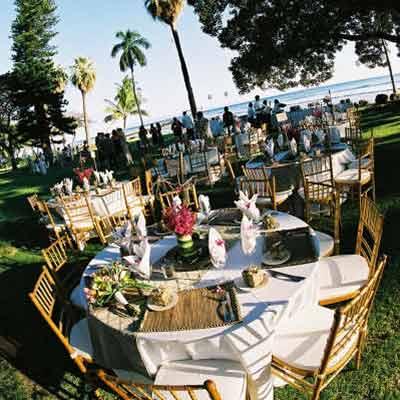 A catered wedding at the Olowalu Plantation House on Maui.