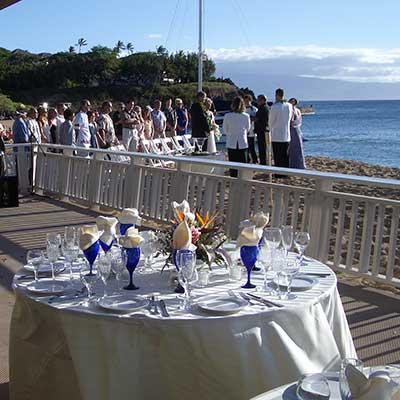 Maui beach wedding location at the Kaanapali Cabana Club on North Beach.