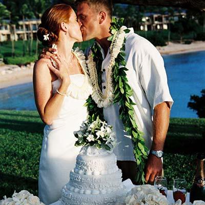Maui wedding lei at Kapalua Bay Maui beach wedding site.