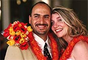 Extend your Maui wedding flowers with Maui wedding lei to complete the vow exchange while providing a traditional Hawaiian wedding accent.