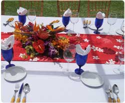 Full Service Maui Catering including matching bamboo utensils and tropical flowers for Maui catered events.