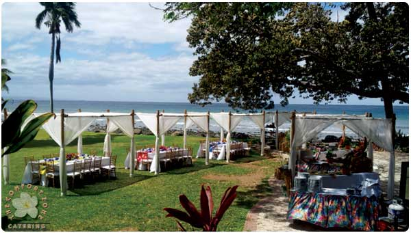A catered event at the Olowalu Plantation House in West Maui with rental equipment.