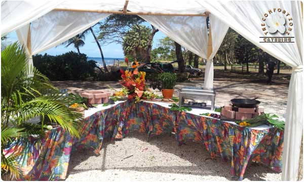 Outdoor kitchen under bamboo chuppa at Olowalu plantion house event venue in West Maui.