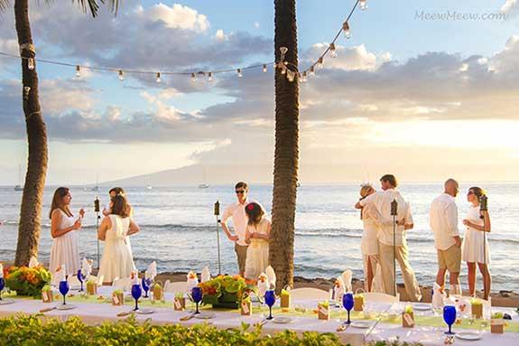 A beachfront wedding reception in Lahaina Maui.