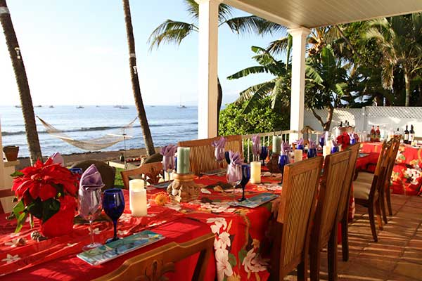 Oceanfront catering location in Lahaina for a family reunion with private chef prepared dinners.