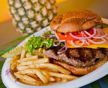 Burger and Fries at CJ's Kaanapali Restaurant in West Maui.