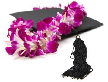 Fresh flower orchid lei on Graduation cap.