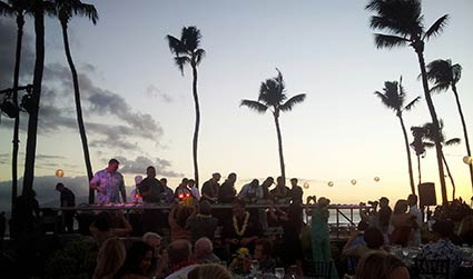 A social event on Maui catered by CJs restaurant in Kaanapali.