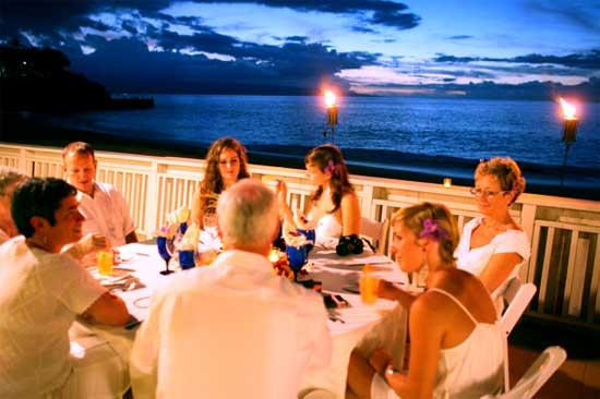 A Kaanapali beach wedding reception with catering at the Outrigger Eldorado Cabana.