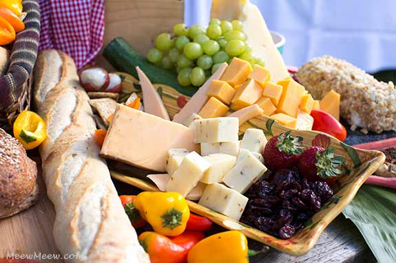 An international cheese display for a Maui catered wedding at the Olowalu Plantation House.