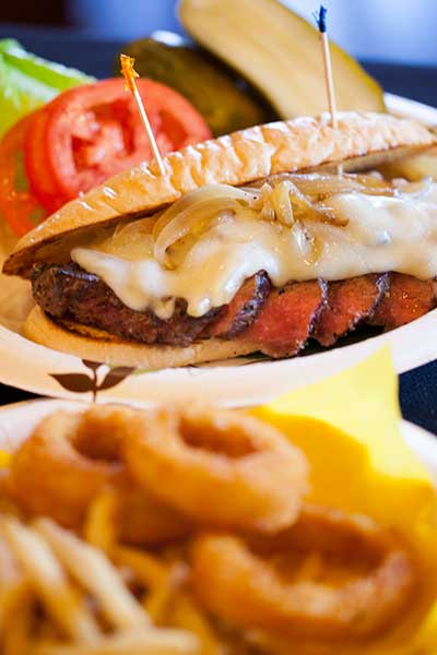 A steak sandwich and Onion Rings with Banana Ketchup from the Daily Specials Board at CJs Deli in Kaanapali.