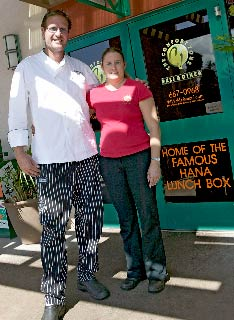 Maui restaurant owners, Marilyn and Chef CJ Jorgensen outside their restaurant in Kaanapali.