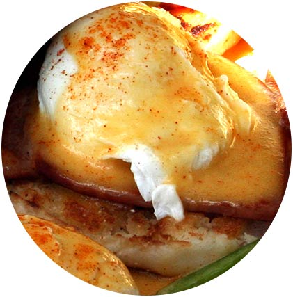 Hollandaise Sauce on Eggs Benedict by Maui Chef Christian Jorgensen