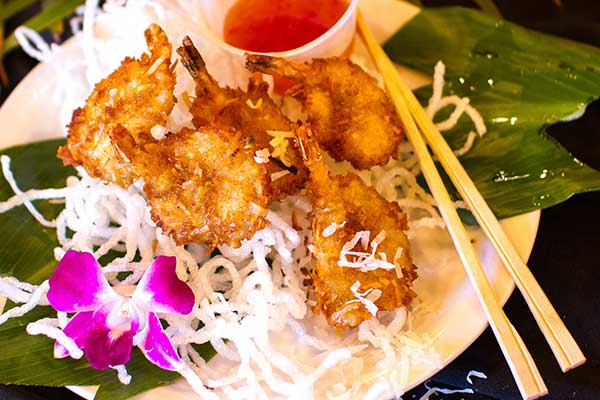 Coconut Shrimp with Sweet Chili Sauce at CJs Diner in Kaanapali.