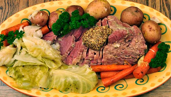 A traditional corned beef with braised cabbage, carrots and new potatoes for St Patricks day on Maui in Kaanapali.