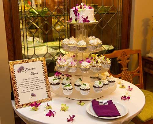 Maui wedding cake atop a cupcake tree in Lahaina.