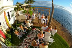 A Lahaina wedding reception with a catered reception dinner.