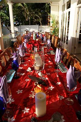Dinner table is set for a catered family reunion on Maui.