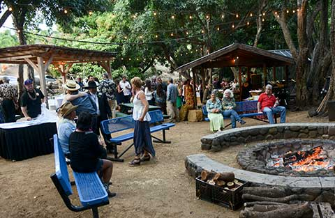 A firepit at the Makni Olu ranch for a wedding in Waikapu on Maui.