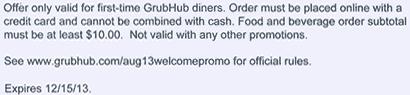 Details, Details - fine print for CJs $5. off GrubHub online order offer.