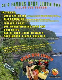 Pick up a Hana Box Lunch Picnic in Kaanapali on Maui