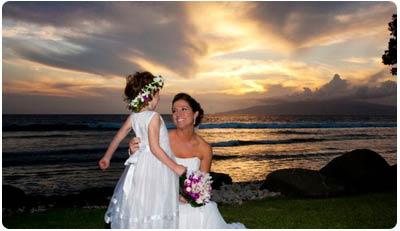 A West Maui beach wedding at the Olowalu Plantation House estate wedding location on Maui.