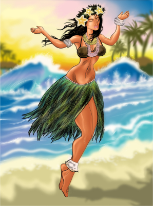 For a complete catered luau on Maui, we supply dancers as portrayed in this hula girl illustration.