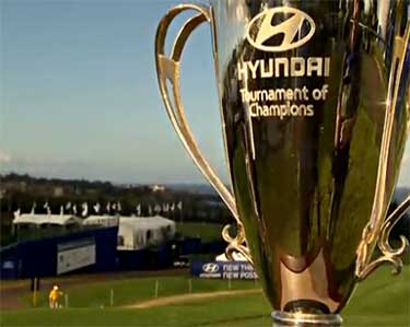 The Hyundai Tournament of Champions Golf Tournament trophy at Kapalau Resort in West Maui.