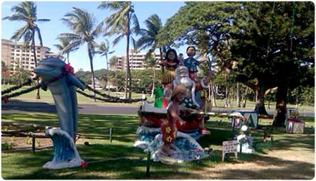 View Santa and his dolphin reindeer decorating Kaanapali Resort when you pick up your holiday feast at CJ's restaurant.