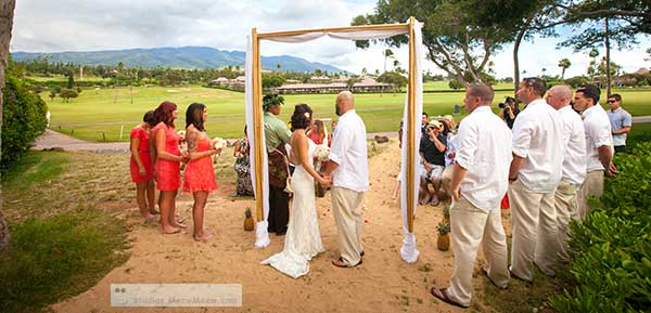 A catered Maui wedding at the Outrigger Eldorado in Kaanapali.
