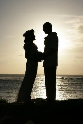Maui beach wedding location with sunset background.
