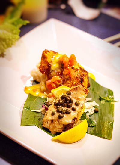 Sauteed Mahi Mahi with Lemon Caper Sauce on Maui at CJs Kaanapali restaurant.