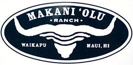 The Makani Olu Ranch logo on the sign in Waikapu, Maui.