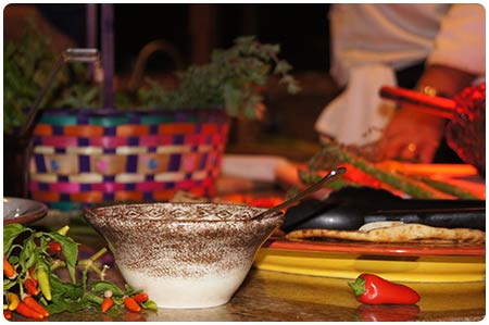 Chef Christian Jorgensen prepares tacos for a catered party on Maui.