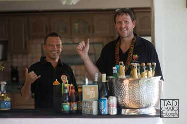Maui Chef CJ and licensed bartender at a wedding in Lahaina.