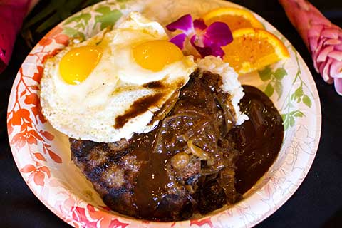 Not just for breakfast on Maui, the Loco Moco includes steak and eggs over rice with brown gravy.