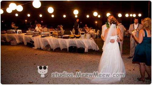 A catered buffet at a Maui wedding reception at the Olowalu Plantation House.
