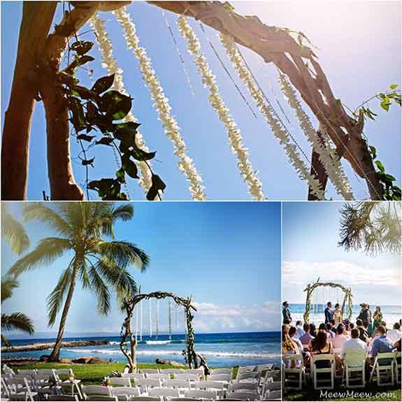 A Maui wedding at the Olowalu Plantation with a driftwood arch.