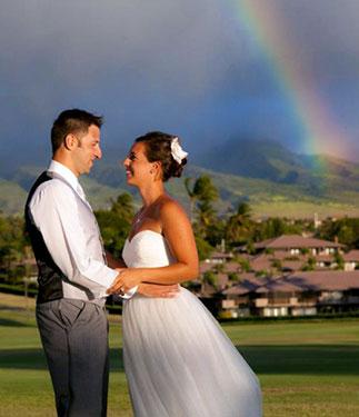 A West Maui wedding complete with a rainbow at the Maui Eldorado.