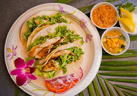 Maui Fish Tacos with House Made Tropical Salsa from Chef CJ